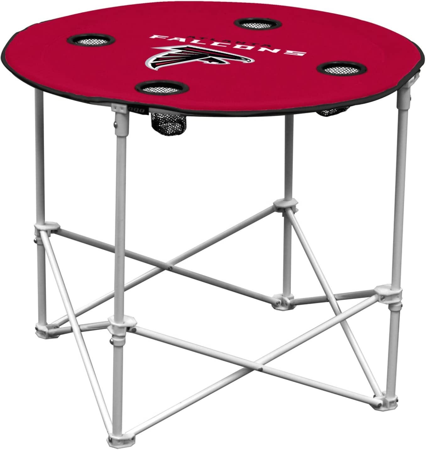 logobrands Round Table with 4 Cup Holders and Carry Bag
