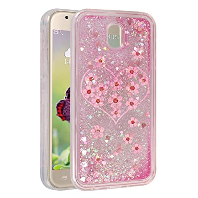 Coque Galaxy J3 2017 Silicone Paillette, Moon mood® Etui Souple TPU Transparent en Liquide Bling Quicksand Case Étui de Protection pour Samsung Galaxy J3 2017 J330 Coque Téléphone Antichoc Cover Bumpe