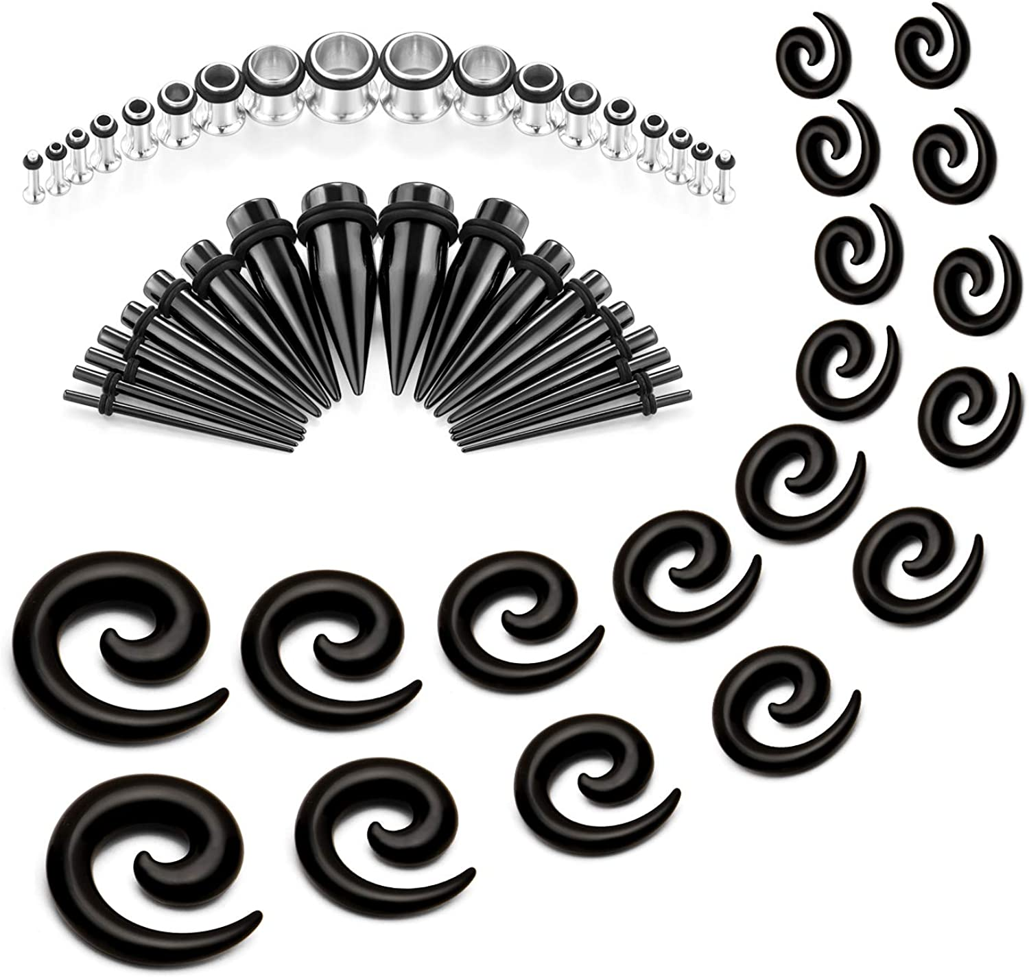 Rajnard Ear Stretching Kit 46-54 Pcs 14G-00G Acrylic /& Stainless Steel Gauge Kit Spiral Tapers Tunnels Plugs Ear Gauge Stretching Kit
