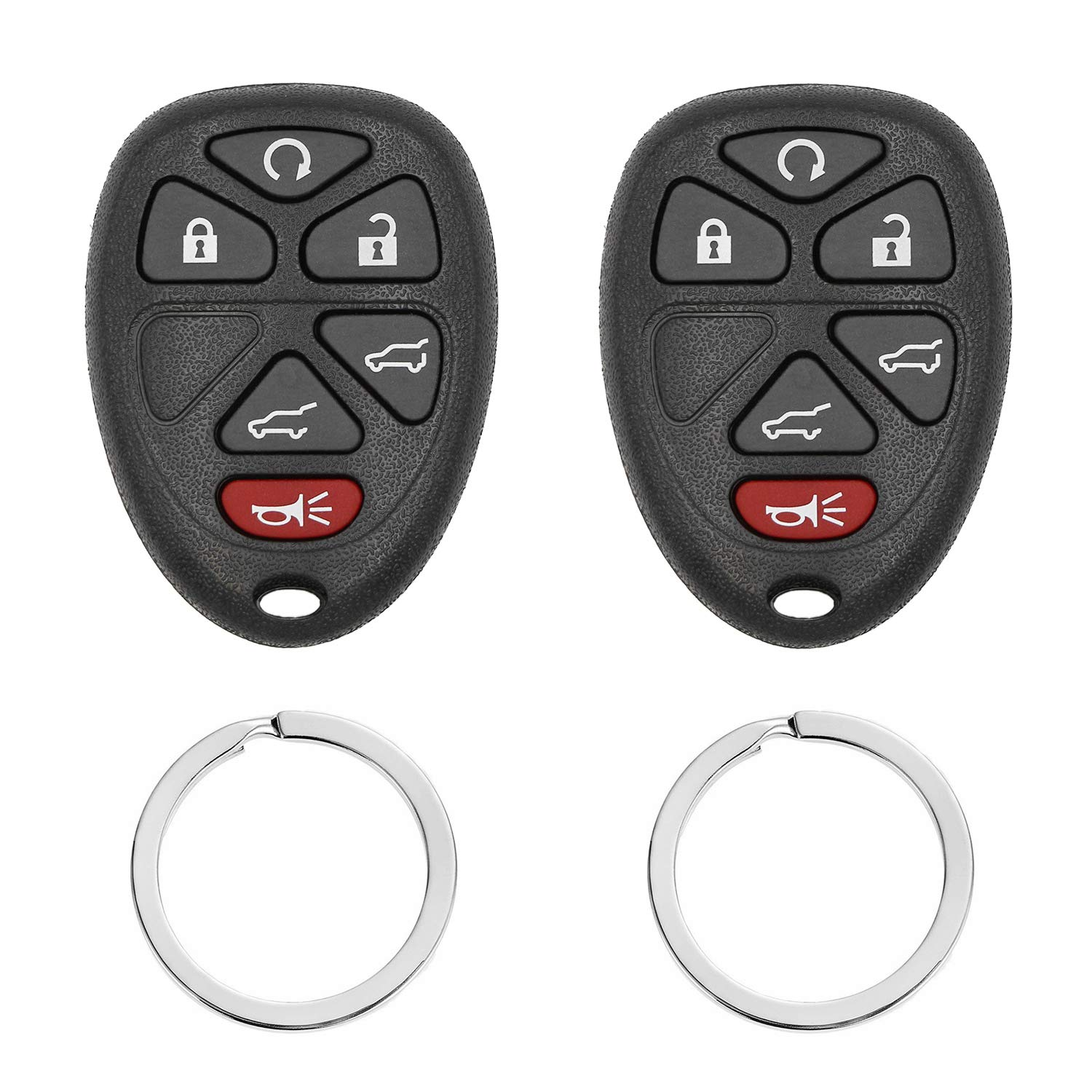 Keyless Entry Car Key Fob Replaces# - 15913427 OUC60270 OUC60221,- That Use 6 Button, Fits Cadillac Escalade Chevrolet Suburban Tahoe GMC Yukon Chevrolet Traverse (Pack of 2)