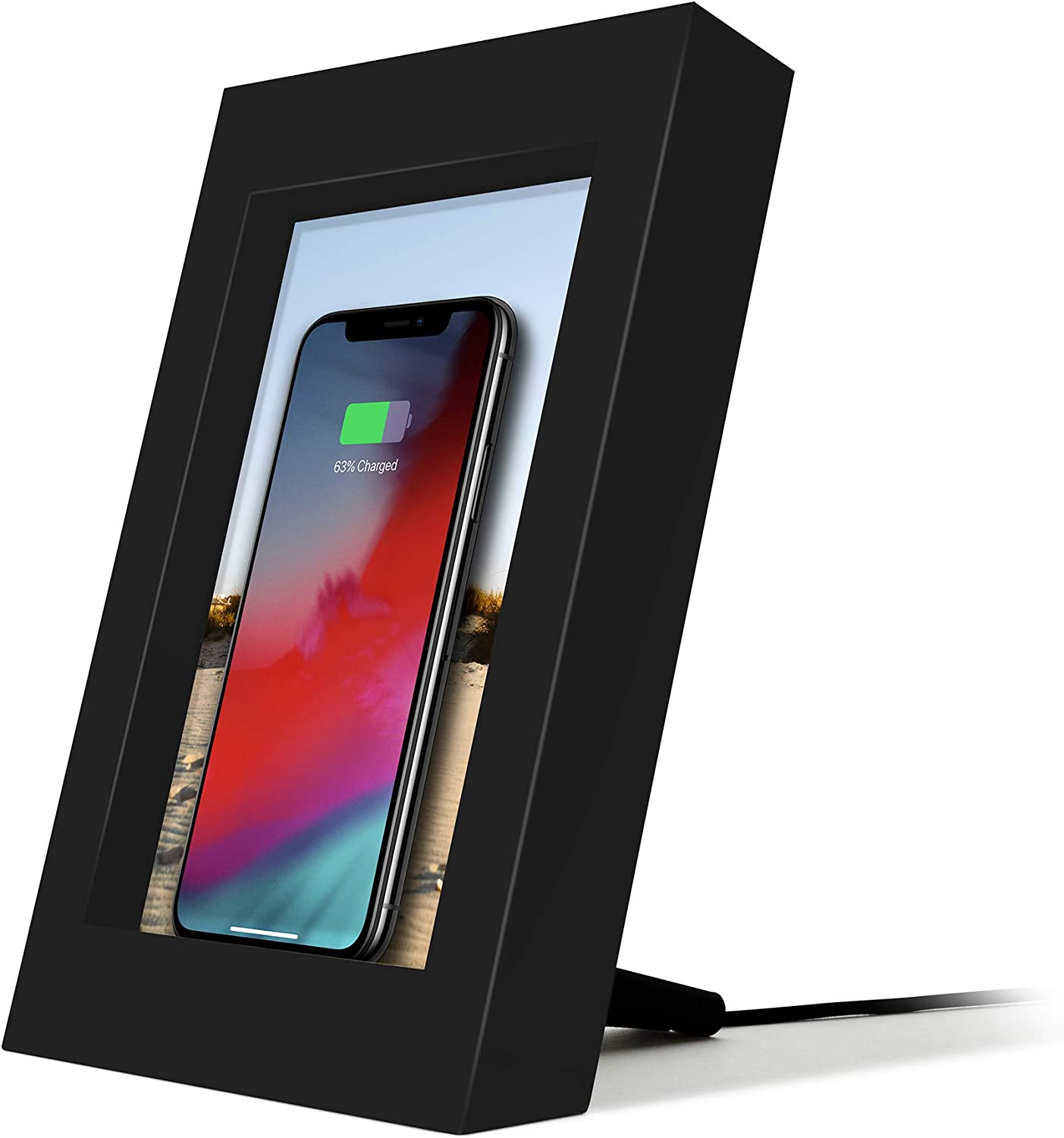 Twelve South PowerPic   Picture Frame Stand with Integrated 10W Qi Charger for iPhone/Wireless Charging Smart Phones (Black)