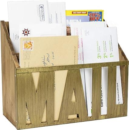 Amazon.com: Organizador de cartas de madera con 3 ranuras ...