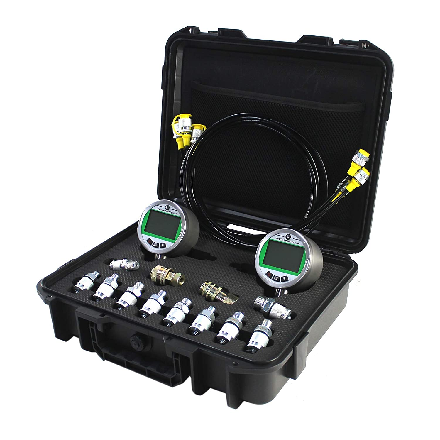 1 Year Warranty SINOCMP Digital Pressure Gauge Kit with 2 80MPA//12000PSI Pressure Gauges 3 Test Hoses and 12 Couplings Hydraulic Gas Water Pressure Test Kit with Backlight