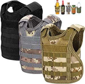 Accmor Tactical Mini Beer Vests, 3 Pack Molle Beer Jacket Camouflage Beverage Coolie Cooler Adjustable Drink Bottle Vests Holder for 12oz or 16oz Cans or Bottles Decoration