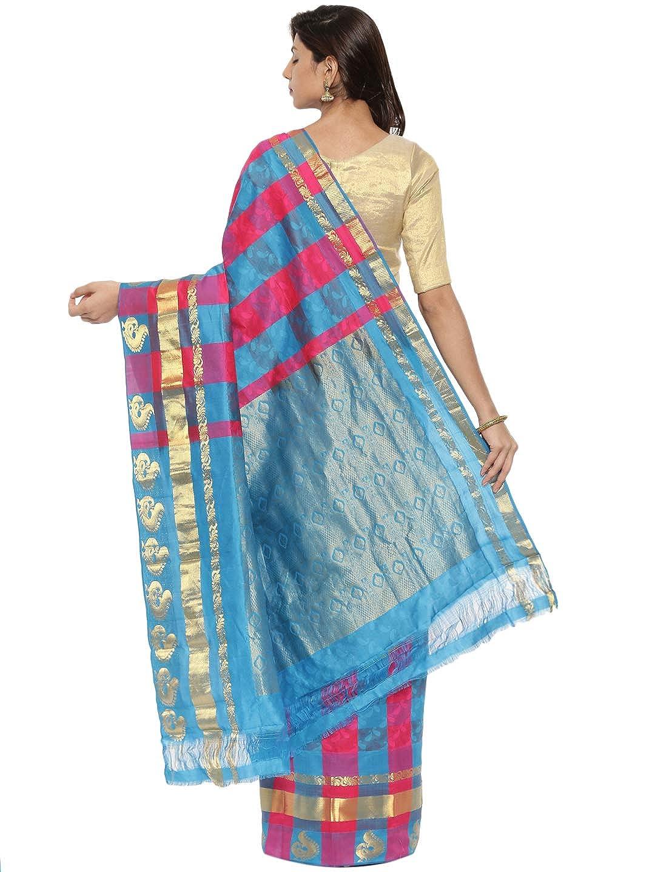 Blue & Pink Kanchipuram Silk Saree With Running Blouse Collection