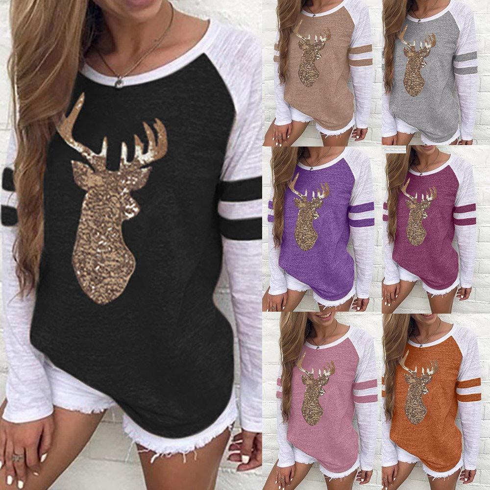KUDICO Christmas Womens T-Shirt Tops Sweatshirt Xmas Elk Sequins Stripe Patchwork Long Sleeve Pullover Tunic