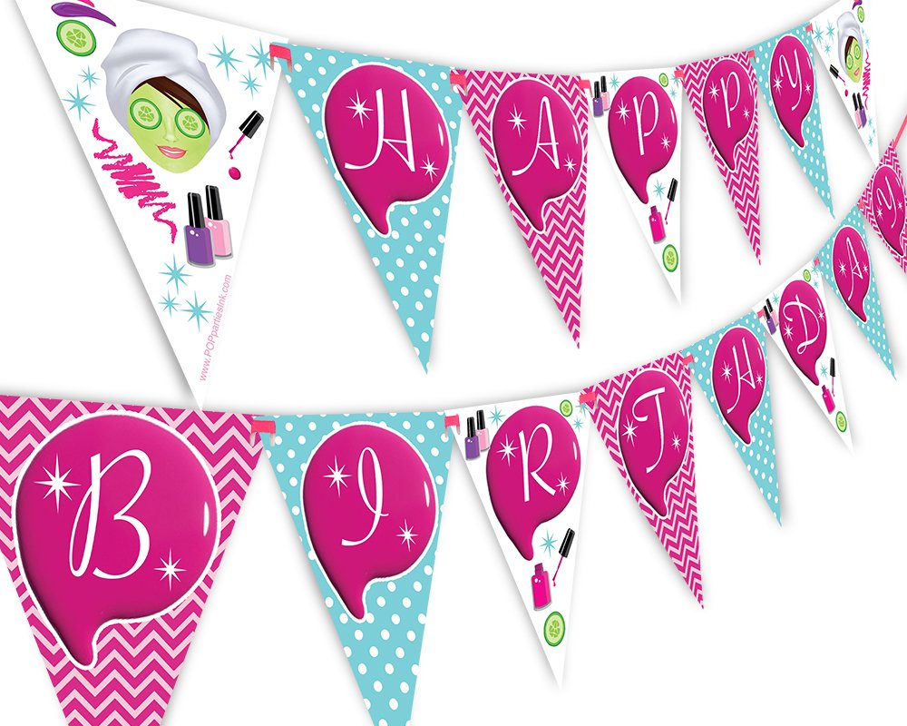 POP parties Spa Party Happy Birthday Banner Pennant - Glamour Party - Make Up Party Banner
