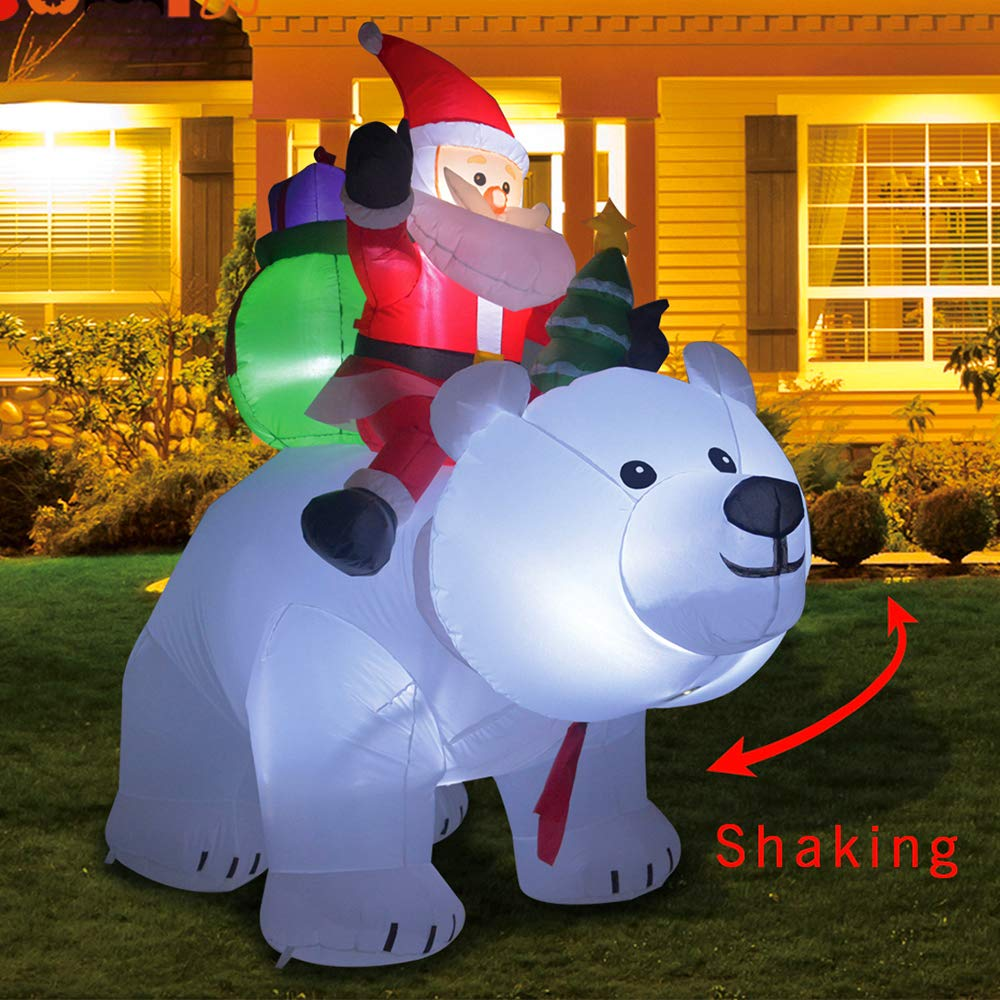 Kemper King 6 Foot Christmas Inflatables Santa on Bear, Airblown Inflatable Bear with Santa and Gifts, Lighted for Home Outdoor Yard Lawn Decoration