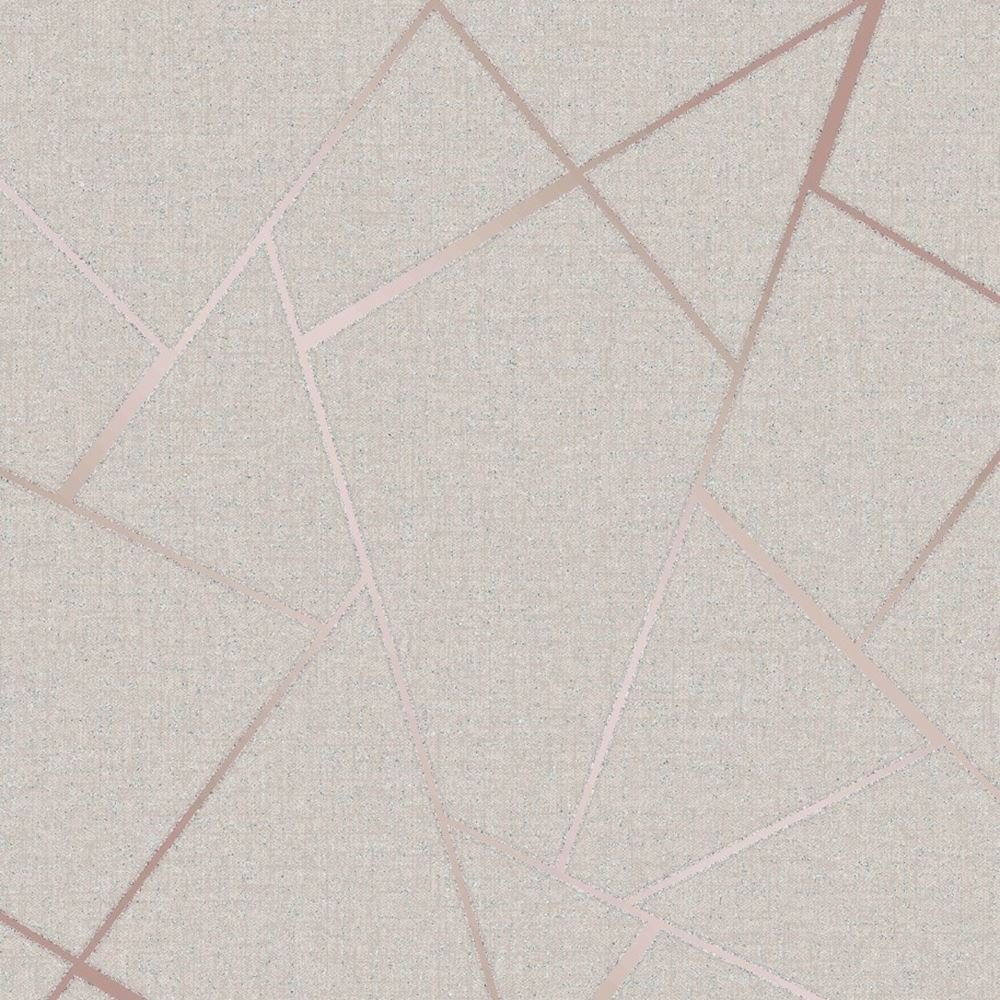 Quartz Fractal Wallpaper Beige And Rose Gold Fine Decor Fd42282
