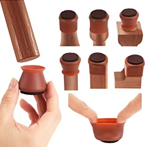 Chair Leg Protectors for Hardwood Floors, 24 Pcs Dark Walnut Furniture Silicon Protection Cover, Silicone Felt Chair Leg Caps Cover Prevents Scratches and Noise, Smooth Moving for Chair Feet