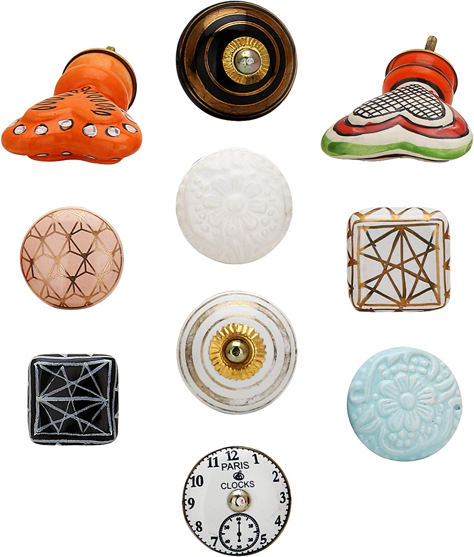 Set of 10 Desk Knobs - Colorful Boho Decorative Living Room Furniture Hardware Antique Ceramic Door Knobs