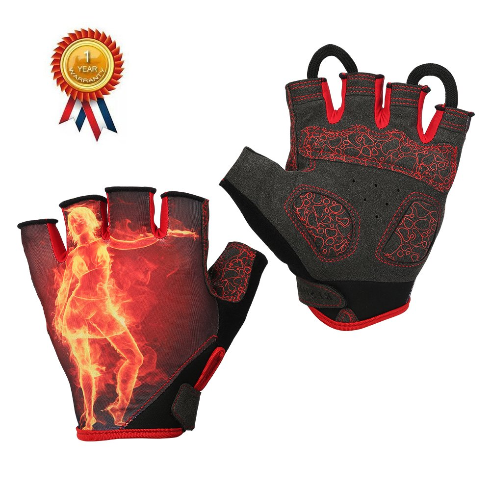 "Risheng Workout gloves,Full Palm Protection Gym Gloves Bicycle Motorcycle Shockproof Foam Padded Outdoor Sports Half Finger Short Gloves for Weight Lifting,Fitness and More (red, L-8.30""-9.09"")"