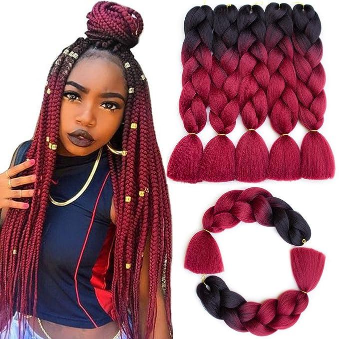 """Callia Synthetic Braiding Hair Kanekalon Hair Ombre Twist Braiding Hair High Temperature Hair 5Pcs/Lot 100g/Pc 24""""(Dark-Red wine)"""