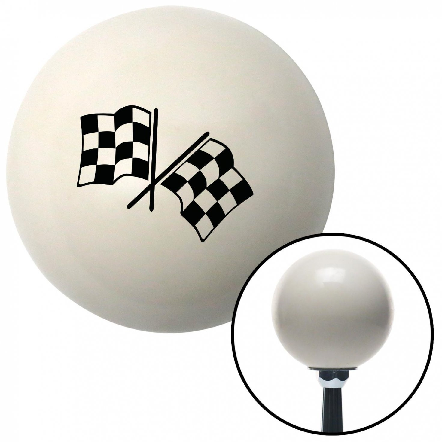 Black Checkered Flags American Shifter 32585 Ivory Shift Knob with 16mm x 1.5 Insert