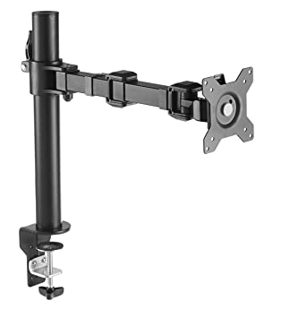 AmazonBasics Single Computer Monitor Stand – Height Adjustable Desk Arm Mount, Steel