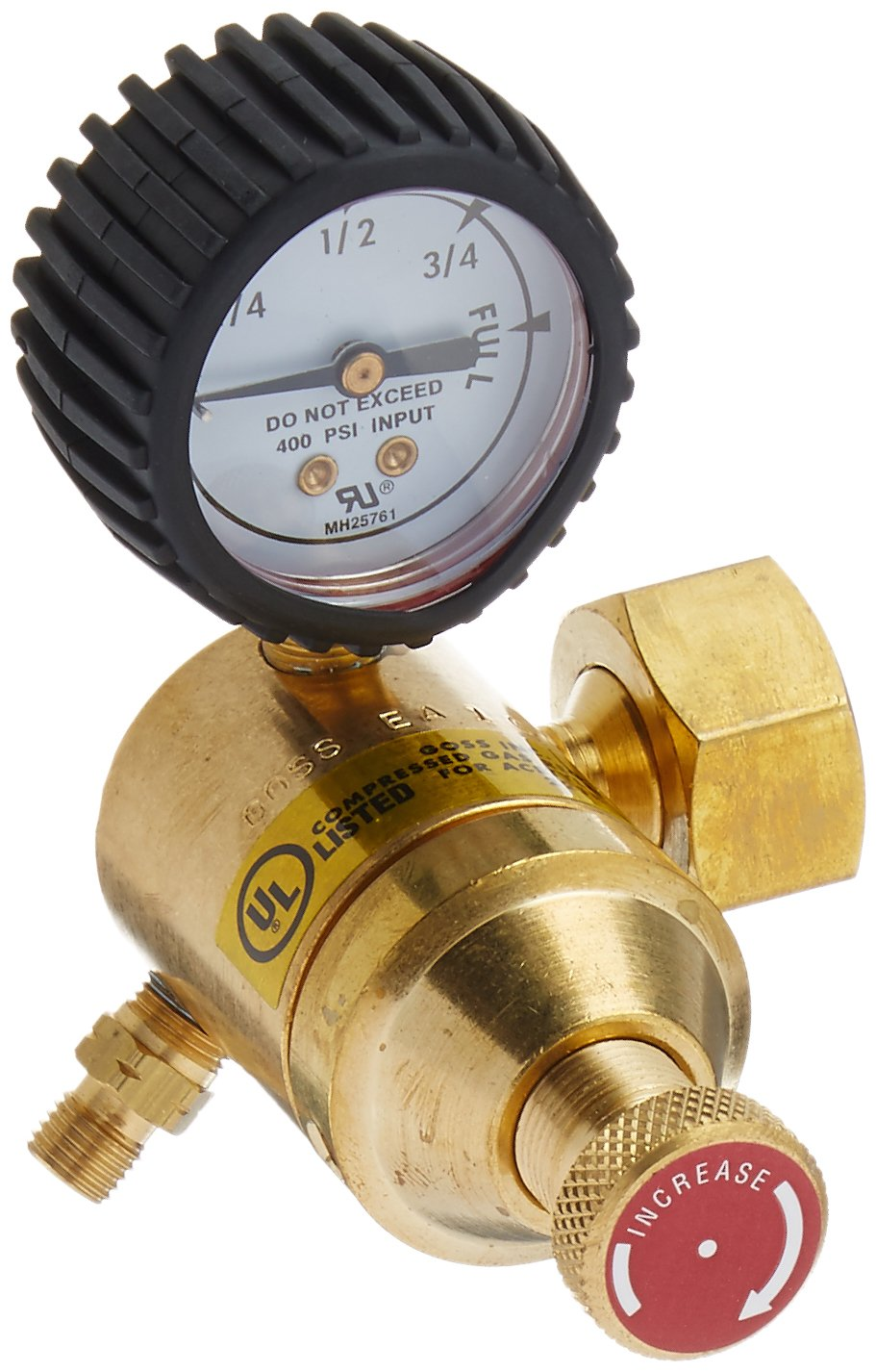 Goss EA-1G Acetylene Regulator with ''A'' Hose Fitting and ''B'' Acetylene Tank Connection by Goss