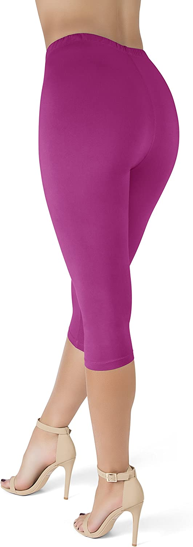 "22 Colors One Size, Fuchsia Reg /& Plus Size SATINA High Waisted 1/"" Waistband Ultra Soft Capris Leggings"