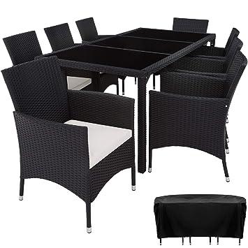 TecTake Poly Ratán Muebles de jardín Conjunto para jardín 8+1 | Tornillos de acero inoxidable incluidos - disponible en diferentes colores - (Negro | ...