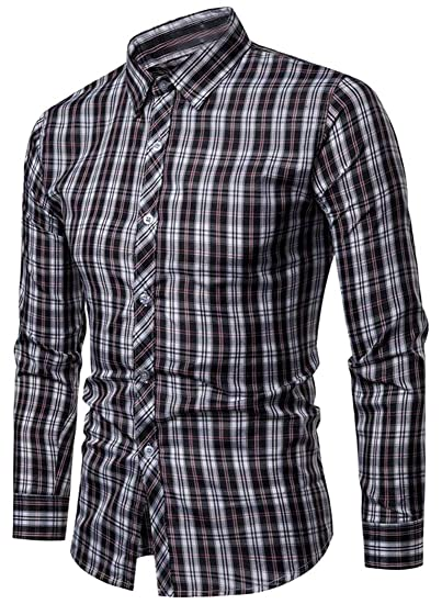 Fubotevic Mens Stylish Buttons Long Sleeve Business Checked Dress Shirts