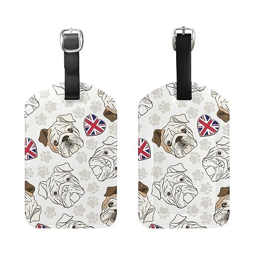 2 PCS M multicolore COOSUN Bulldog inglese Etichette Viaggi etichette segnaprezzo carta di nome per il bagaglio Valigia Bag Zaini