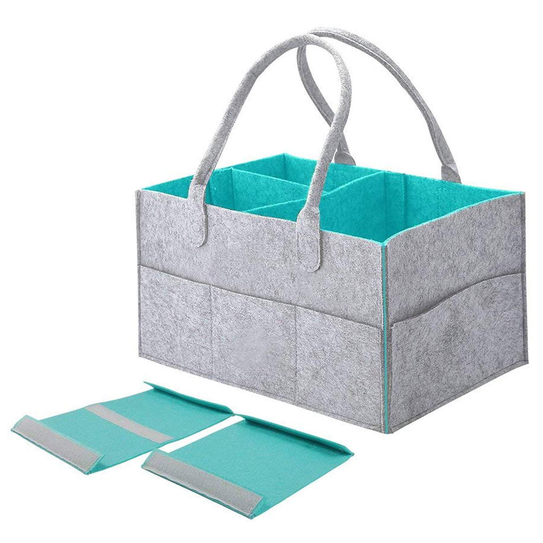 Tragbare Baby Windel Caddy Organizer Tote Bag große Kapazität Kindergarten Storage Bin Korb mit veränderbaren Fächer für Kinder Spielzeug Windeln (grau & blau) Fdit