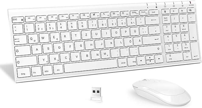 Jelly Comb Juego de ratón con teclado inalámbrico de 2,4 GHz, teclado inalámbrico QWERTZ ultradelgado para PC, escritorio, portátil, portátil, Windows ...