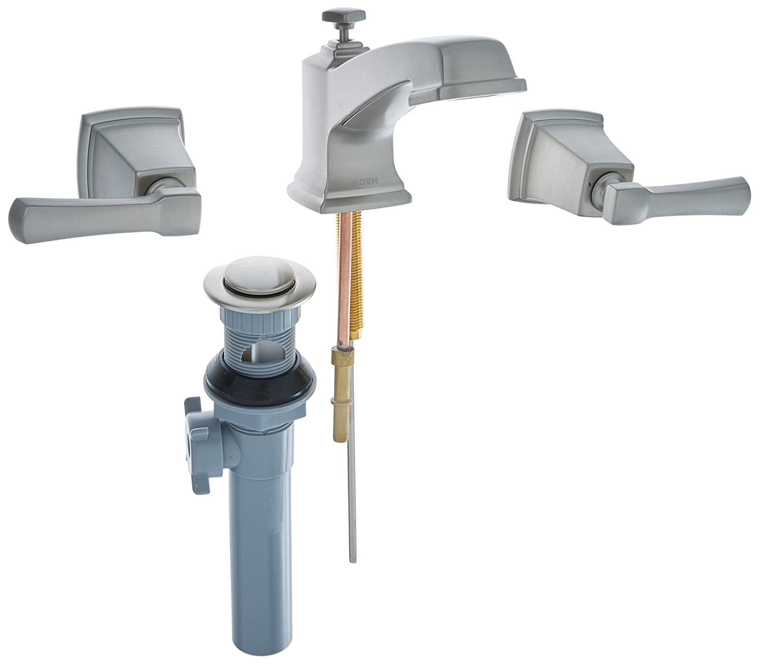 Magnificent Moen 84820Srn Double Handle Widespread Bathroom Faucet From The Boardwalk Collection Spot Resist Brushed Nickel Download Free Architecture Designs Grimeyleaguecom