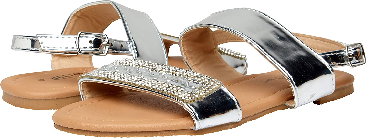 Little Kid, Big Kid dELiAs Girls Elegant Metallic Rhinestone Sandals with Mirror Straps