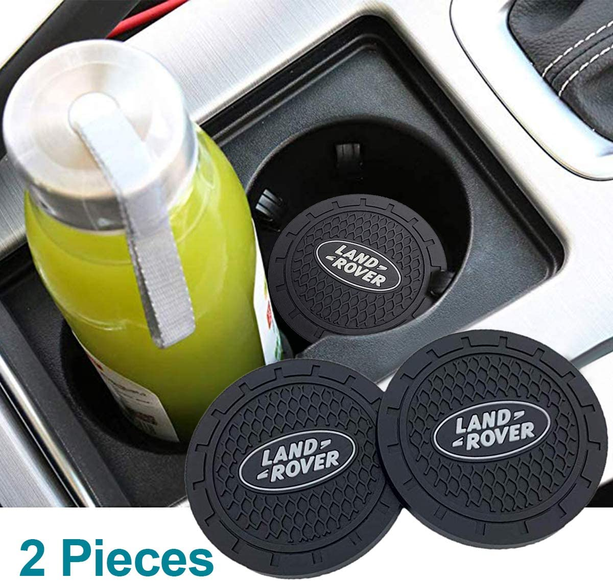 monochef Auto Sport 2.75 Inch Diameter Oval Tough Car Logo Vehicle Travel Auto Cup Holder Insert Coaster Can 2 Pcs Pack (Fit Land Ro ver)