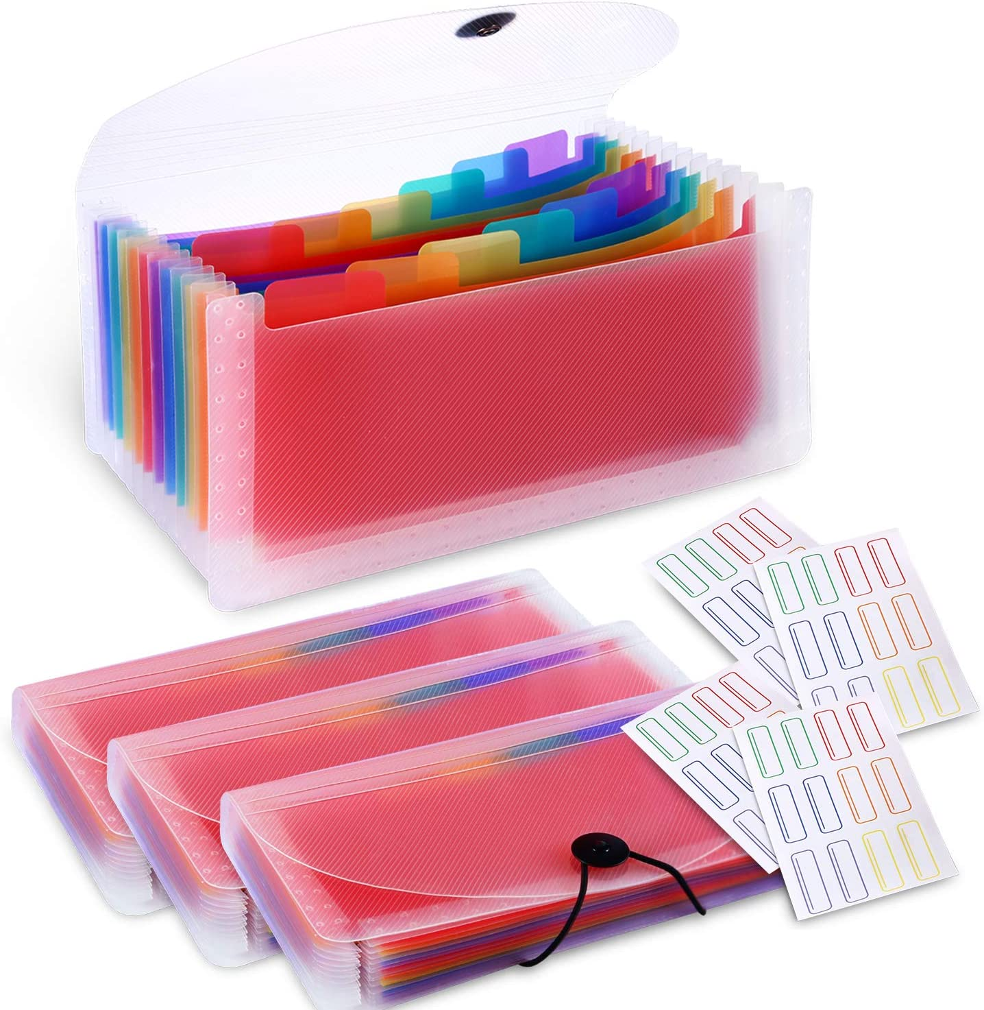 4 Pack 13-Pockets Accordion File Organizer, A6 Plastic Coupon Organizer Wallet Mini Expanding File Folder for Cards, Coupons, Receipt, Tax Item