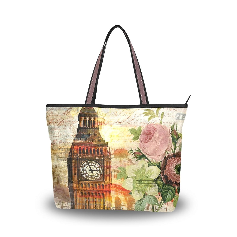Women Large Tote Top Handle Shoulder Bags Retro Flower Patern Ladies Handbag