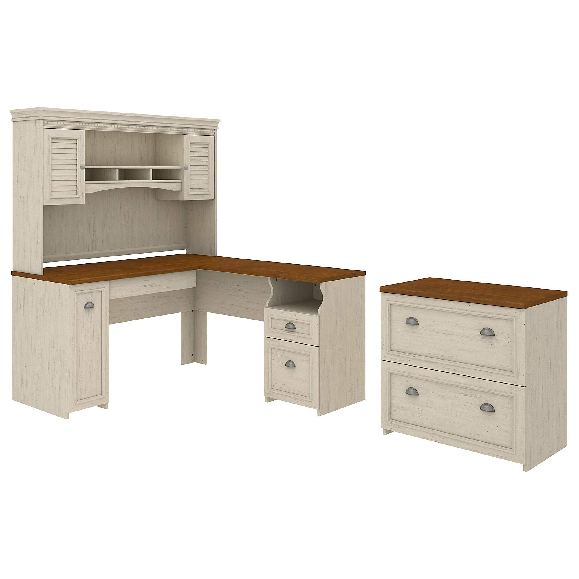 Fairview L Shaped Desk with Hutch and Lateral File Cabinet by Bush Furniture