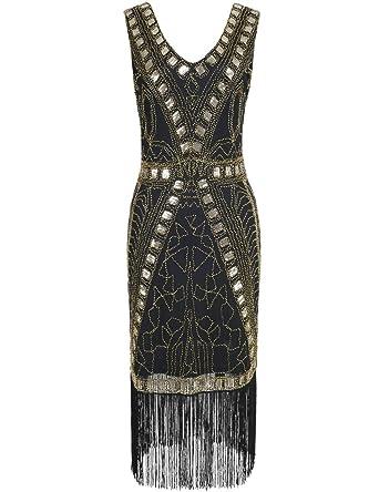 Kayamiya Damen 1920er Art Deco Perlen Pailletten Inspiriert ...