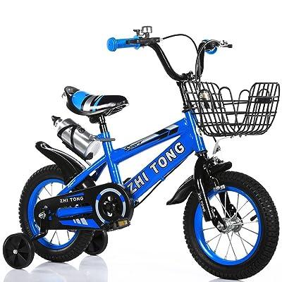 Les bicyclettes des enfants, appropriées aux garçons et aux filles Roue auxiliaire Acier à haute teneur en carbone Anti-dérapant Pneu Forte Sécurité 2-10 Ans 88-121 CM ( Color : Bleu