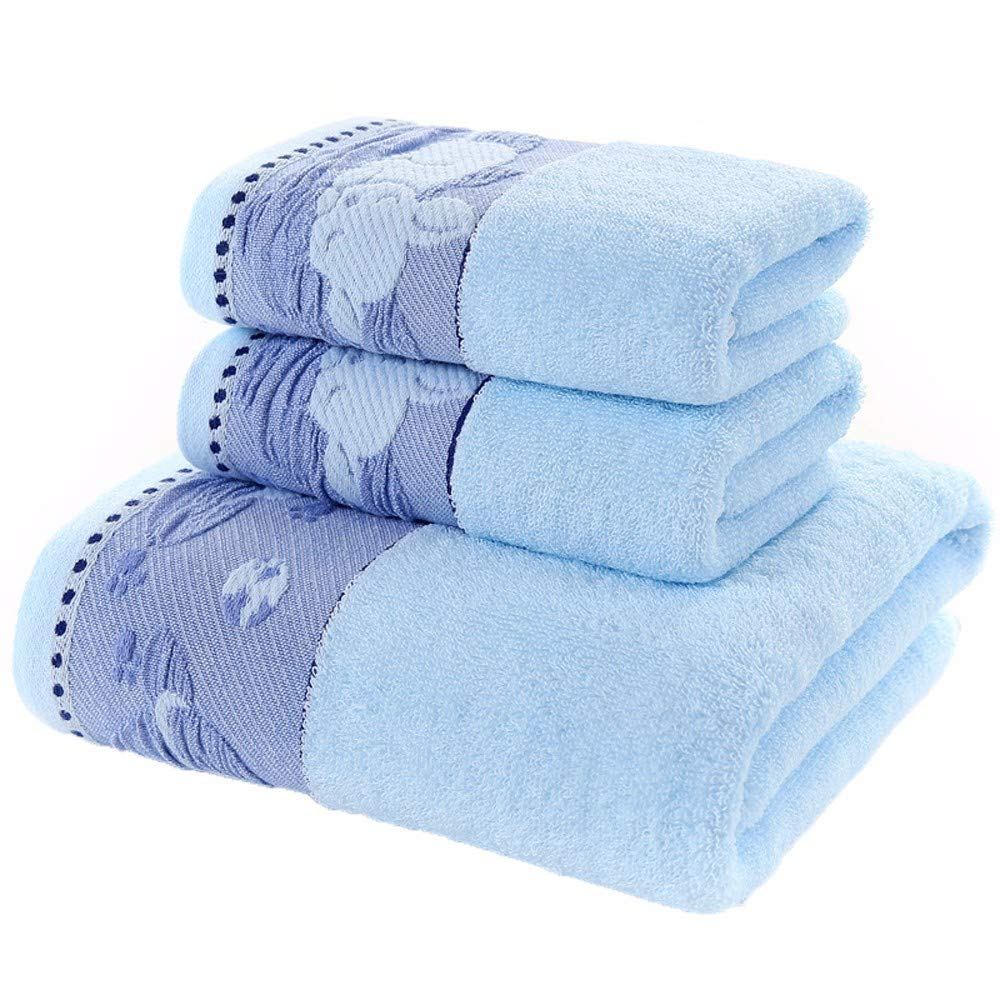 LOF-fei Juego de 3 Toallas 100% algodón,(2) Toallas de Mano 34x74cm,(1) Extragrande Toalla de baño 140x70cm,Set de Regalo de Moda Jacquard,Muy Absorbente ...