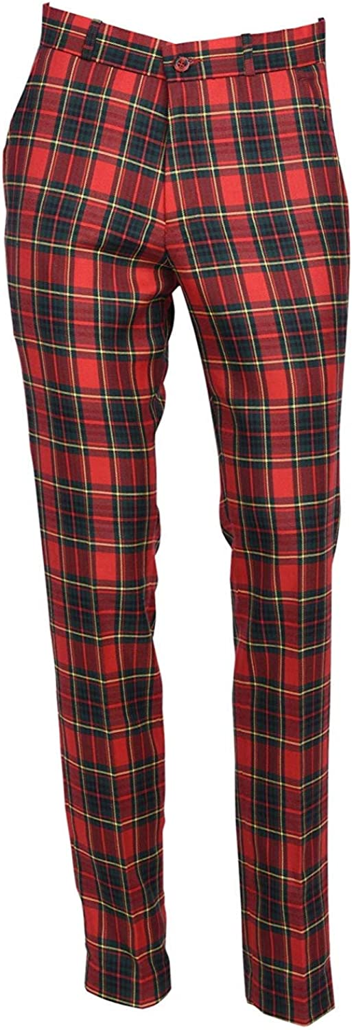 1950s Men's Pants, Trousers, Shorts | Rockabilly Jeans, Greaser Styles Mens Red Tartan Golf Sta Press Trousers Slim Fit 60s 70s Retro Mod Pants £29.99 AT vintagedancer.com