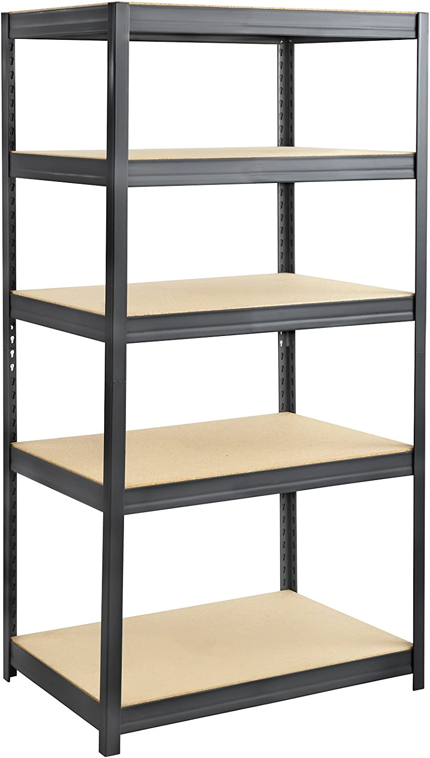 "Safco Products Boltless Steel and Particleboard Shelving 36""W x 24""D x 72""H with 5 Shelves, Black"