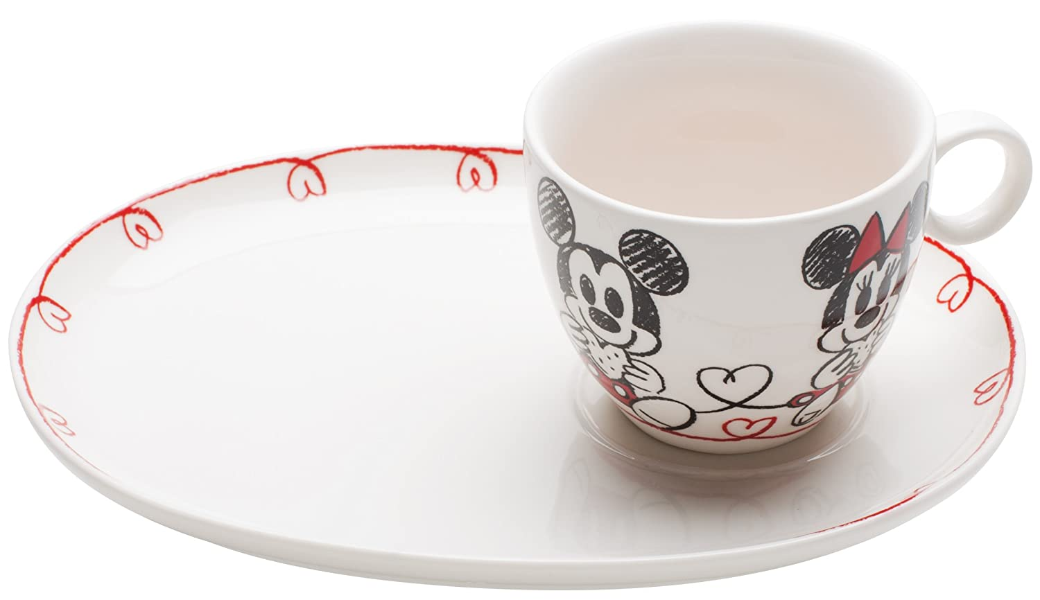Zak Designs Disney Mickey and Minnie Mouse Porcelain Cookie and Milk Serving Set MMLZ-8610