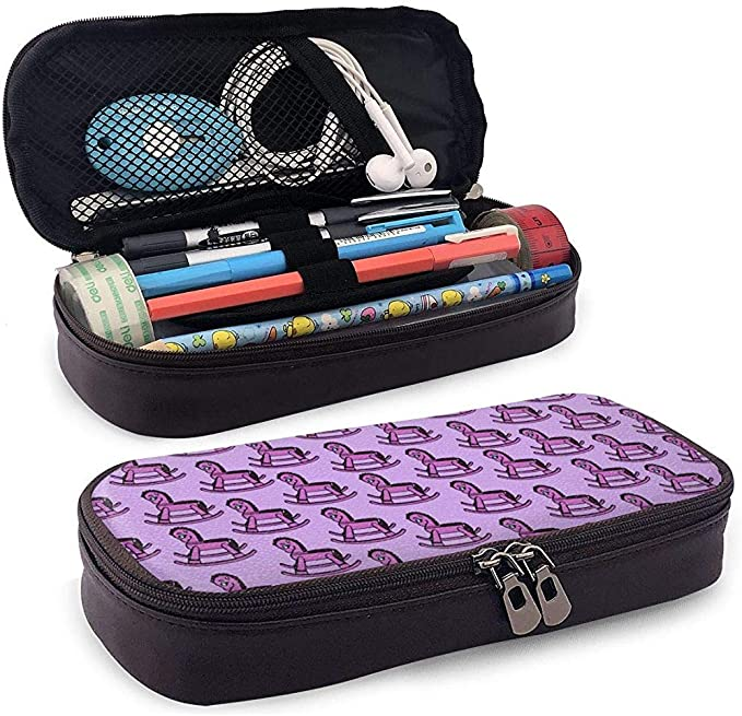Estuche de cuero de PU Estuche violeta violeta púrpura Caballo mecedora Bolígrafo Estuche para lápices Estuche para bolsa: Amazon.es: Oficina y papelería