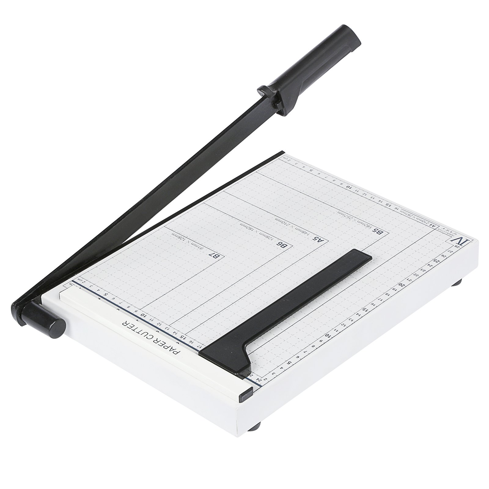 12'' Metal Base Paper Cutter Heavy Duty Professional Guillotine Paper Trimmer Machine 10 Sheet Capacity for Home Office (12 x 8inch, White)