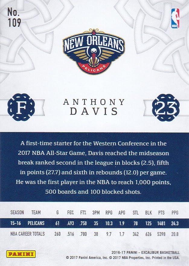 2016 17 Panini Excalibur Basketball 109 Anthony Davis New