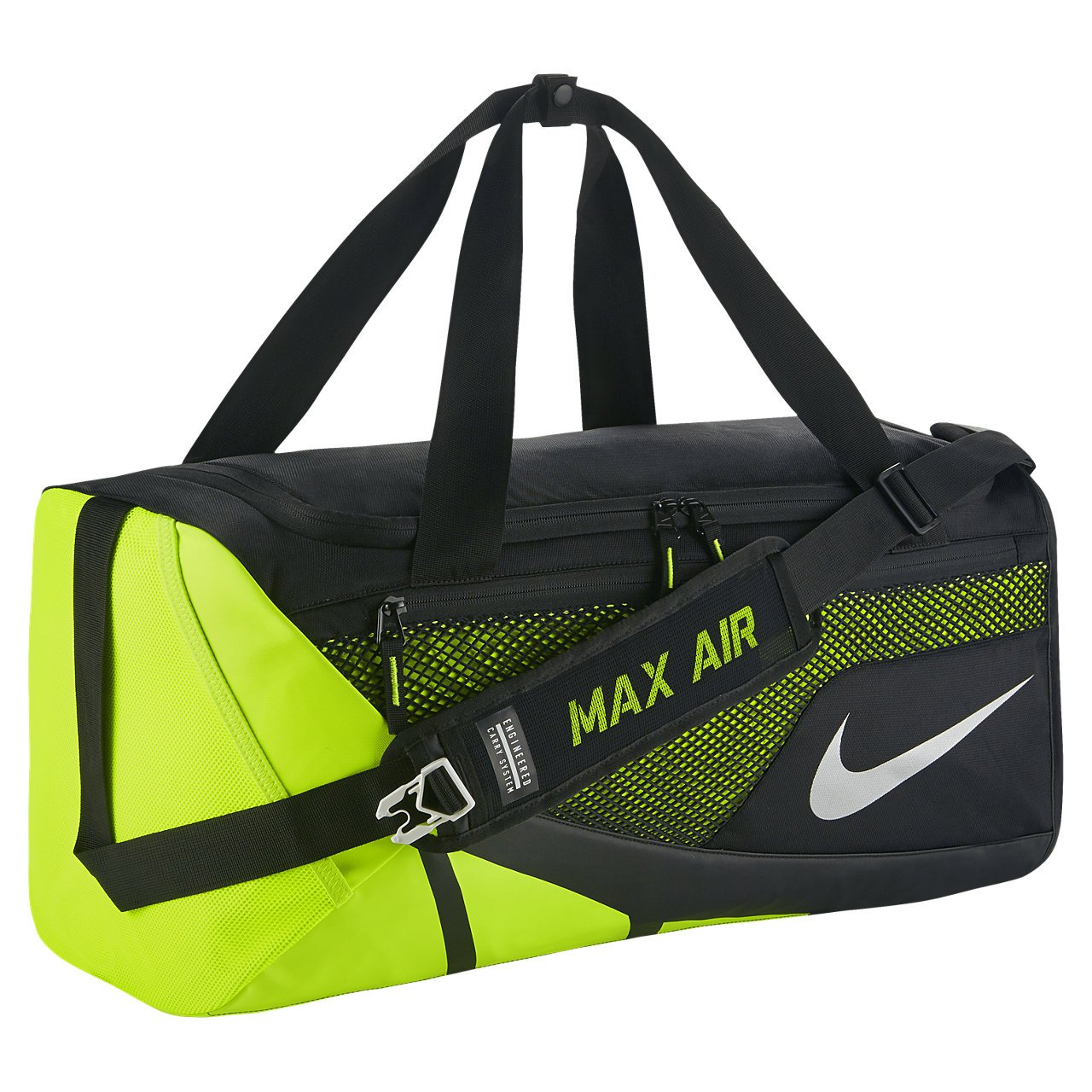 Nike Vapor Max Air 2.0 Medium Duffel Bag (Medium, Black/Volt/Metallic Silver) by NIKE