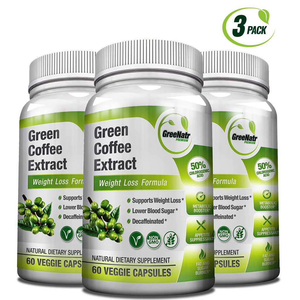 Green Coffee Bean Extract - 50% Chlorogenic Acids * 180 Veggie / Gluten Free Capsules for Natural Weight Loss by GreeNatr