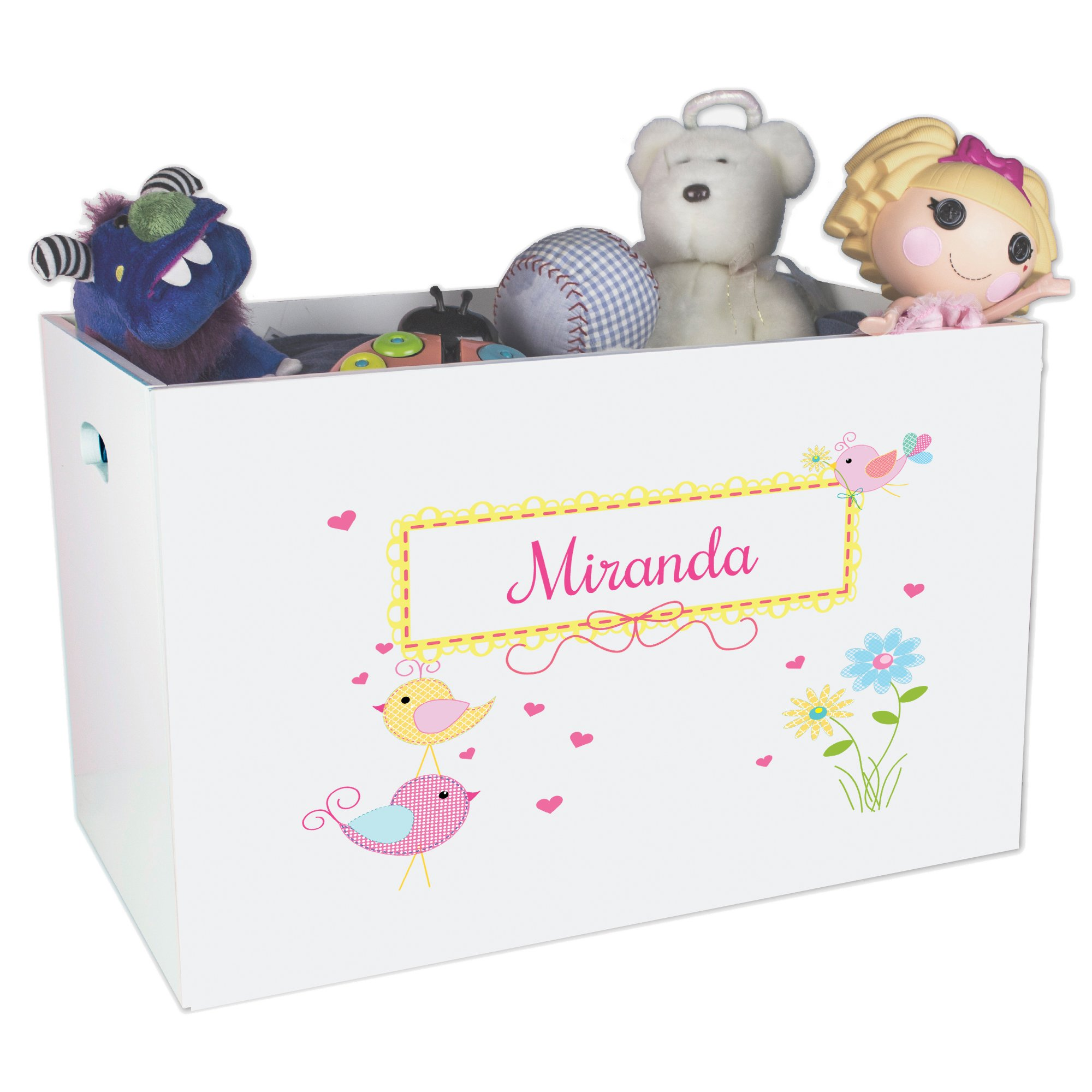 Personalized Birds Childrens Nursery White Open Toy Box