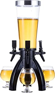 AOEIUV 3.5L Beer Tower Dispenser, Spherical Beverage Dispenser Drink Tower, with 3 Taps and Freeze Tube, Easy to Clean, Party, Restaurant, KTV, Barbecue Restaurant