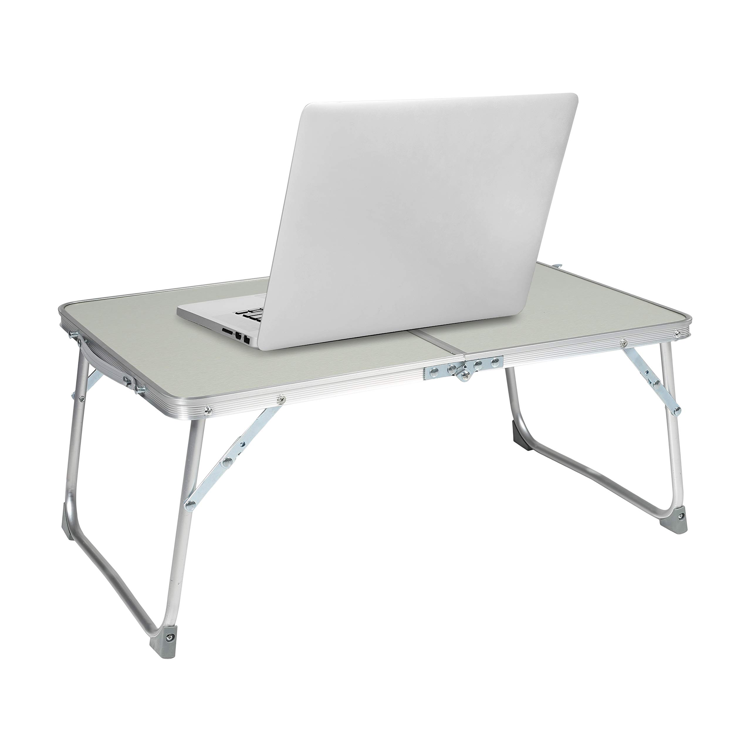 Milliard Aluminum Laptop Foldable Table, Breakfast in Bed Tray, Standing Desk and Couch Desk for Home Office and Travel - Folds in Half with Interior Storage Space Durable. by Milliard