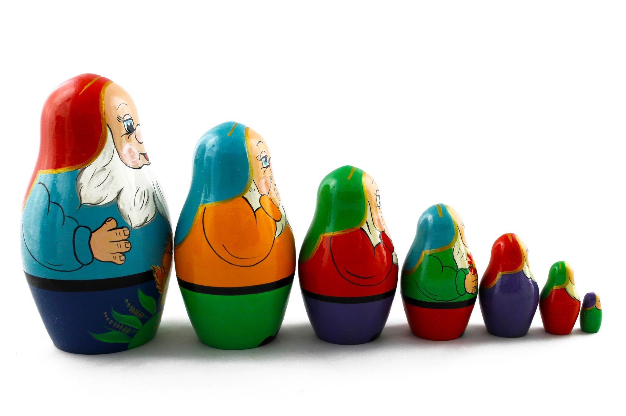 Matryoshka Russian Nesting Doll Babushka Beautiful Dwarf Seven Dwarfs Set 7 Pieces Pcs Hand Painted Handmade Souvenir Gift Handicraft by MATRYOSHKA&HANDICRAFT (Image #2)