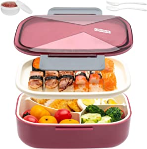 Bento Box for Adults Kids - 1700 ML All-In-One Bento Lunch Boxes Meal Prep Container With Utensil, Sauce Soup Cup - Durable Leak-proof Eco-Friendly, Micro-Wave, Freezer Safe(Claret-red)