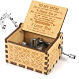 Kafete Music Box Hand Crank Engraved Musical Box-U R My Sunshine Mechanism Antique Vintage Personalizable Gift for Mom from D