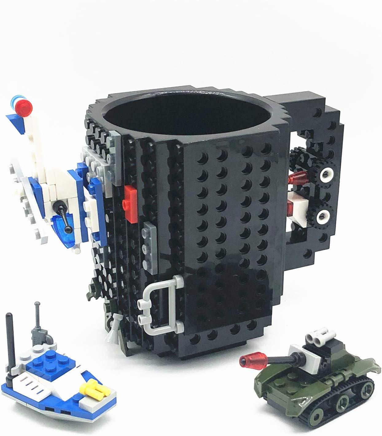 VANUODA Build-on Brick Mug, Tazas Desayuno, Regalos para Hombres Papá Él Amigos Niños Adulto, Originales Regalo Ideal para Navidad Pascua Dia del Padre Cumpleaños, Compatible con Lego (Negro)
